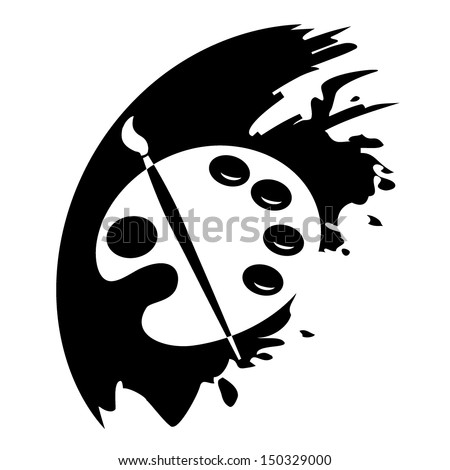 Color palette and artistic brush. Vector icon.  - stock vector