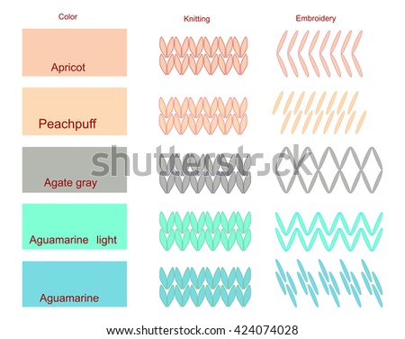 Color palette with elements of embroidery and knitting vector illustration