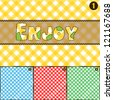 4 Color Pic Nic Pattern Texture. Pattern of textile material used for Pic Nic branch in 4 colors with Enjoy Text in patchwork write. EPS10  fully editable with layers. Easy to custom.  EFFECTS: None - stock photo