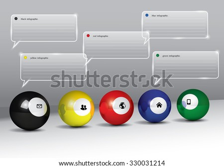 5 color pool balls with info-graphic. - stock vector