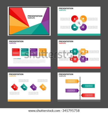 4 color presentation template Infographic elements flat design set for brochure flyer leaflet marketing advertising - stock vector
