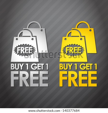 2 color set of buy one get one free - stock vector