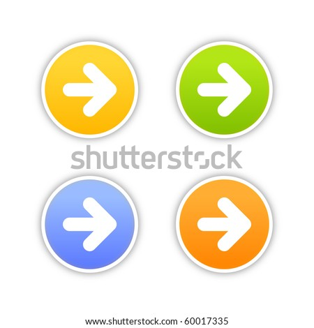 4 colored arrow sign web 2.0 button. Round stickers with shadow on white background. 10 eps - stock vector