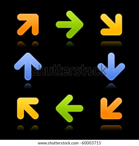 8 colored arrow sign web 2.0 button with reflection on black background - stock vector