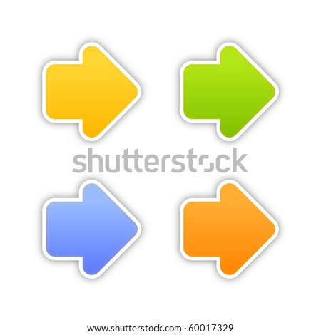 4 colored arrow sign web 2.0 stickers with shadow on white background. 10 eps - stock vector