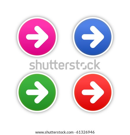 4 colored arrow symbol web 2.0 round stickers with shadow on white background. 10 eps - stock vector