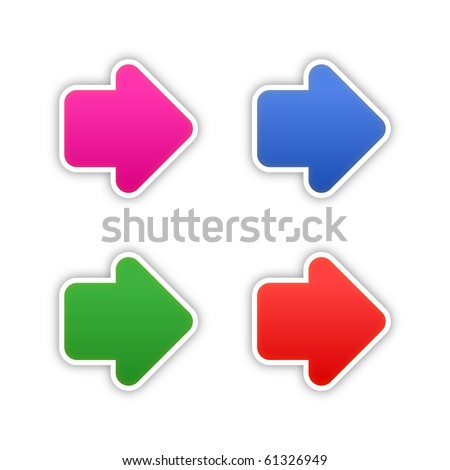 4 colored arrow symbol web 2.0 stickers with shadow on white background. 10 eps