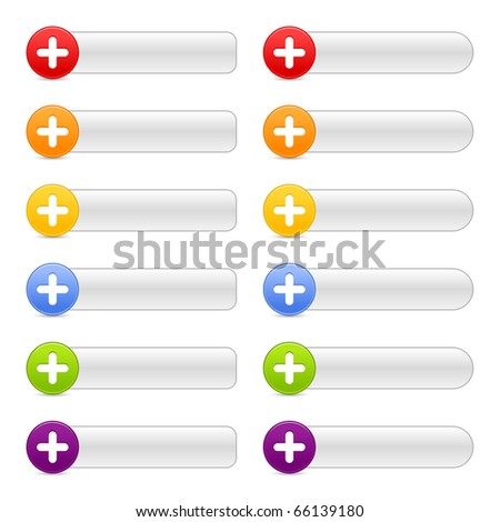 12 colored button plus sign web 2.0 navigation panels with shadow on white - stock vector