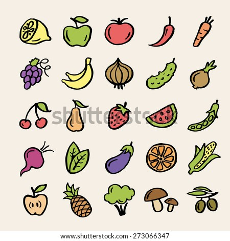 25 colored doodle food icons. Fruits and vegetables collection