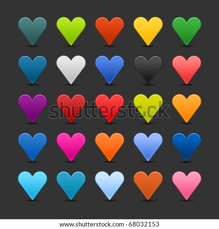 25 colored heart icon web 2.0 buttons with shadow on gray background - stock vector