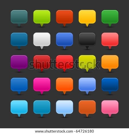 25 colored mapping pins web 2.0 buttons. Satined smooth square shapes with shadow on gray background - stock vector