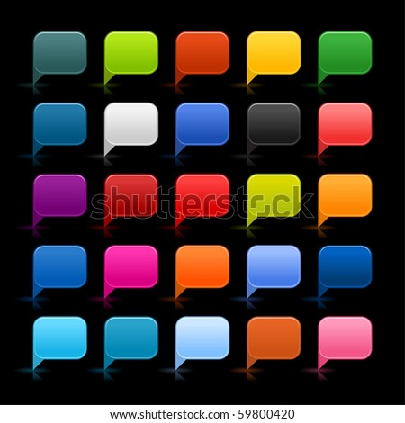 25 colored web 2.0 dialog speech bubble. Rounded square shapes with reflection and shadow on black background