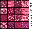 16 Colorful Abstract Backgrounds: Hearts - stock vector