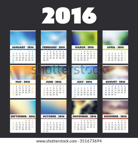 2016 Colorful Calendar Design With Different Backgrounds For Every Month - stock vector