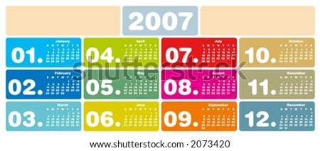 2007 Colorful Calendar (Fully editable, type is both as fonts and as curves) - stock vector
