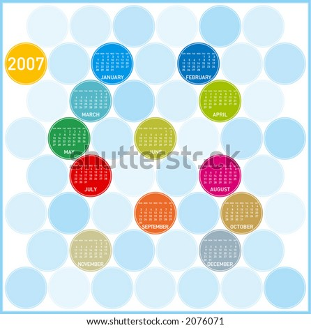 2007 Colorful Calendar, with a circles theme (Fully editable, type is both as fonts and as curves) - stock vector
