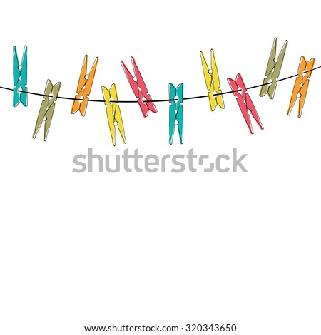 Colorful  cartoon clothespins on the white background