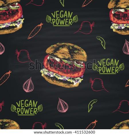 Colorful chalk painted seamless pattern of vegan Beetroot burger ingredients. Burger menu theme. - stock vector