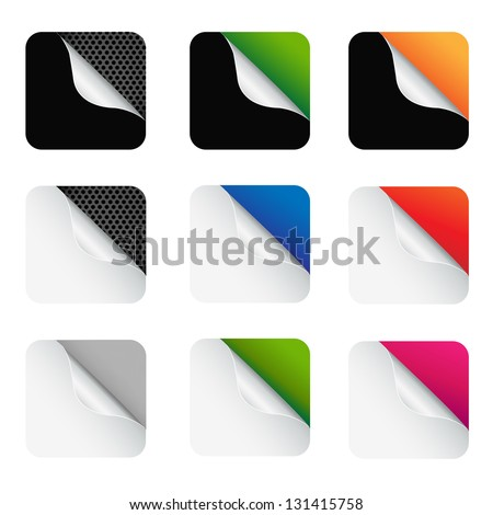 9 Colorful Corners With Gradient Mesh, Isolated On White Background, Vector Illustration - stock vector