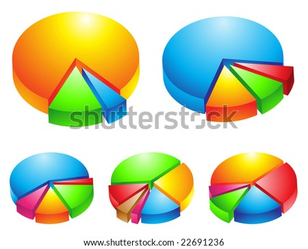 5 colorful 3d pie graphs isolated on white - stock vector