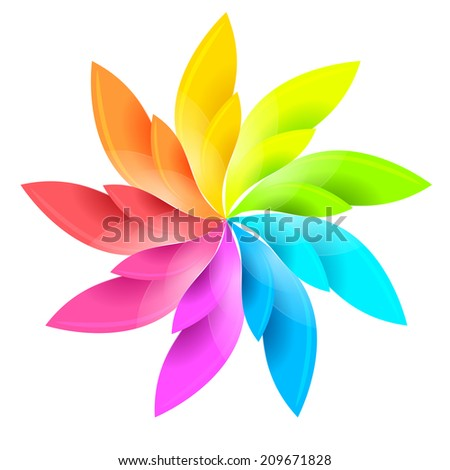 Colorful floral sign 	 - stock vector