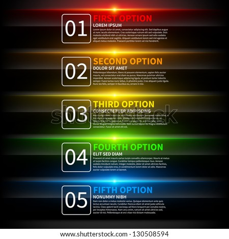 5 colorful glowing options. Useful for presentations or web design. Useful for presentations or web design. - stock vector