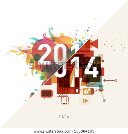 "2014 colorful graphic design background - ""shift in visual style"""