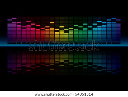 Colorful Graphic Equalizer Display (editable vector) - stock vector