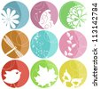 9 colorful icons with nature elements - stock vector