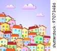 Colorful Little town .Vector paper-art - stock vector