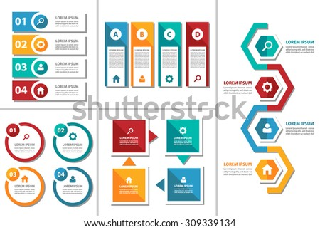 5 Colorful multipurpose presentation infographic element and light bulb symbol icon template flat design set for advertising marketing brochure flyer - stock vector