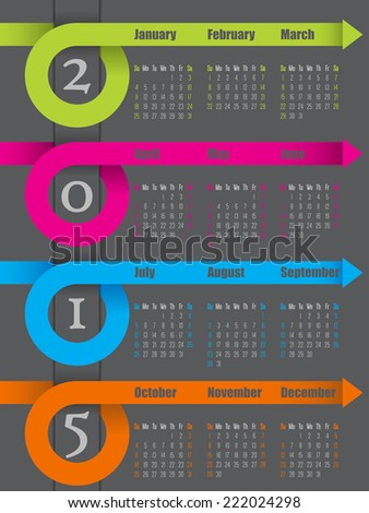2015 colorful ribbon arrow calendar design with dark background - stock vector