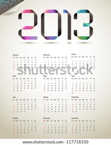 2013 colorful ribbon calendar, vector - stock vector