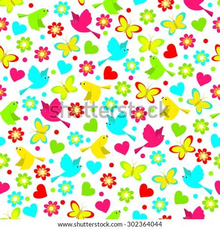 colorful seamless,pattern of birds, butterfly and flowers on a white background, vector