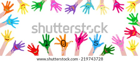 2015 colorful smiley hands  - stock vector