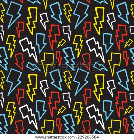 """""""Colorful thunder bolts"""" seamless vector pattern (black) - stock vector"""