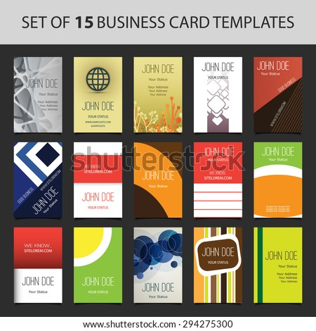 15 Colorful Vertical Business Cards - stock vector