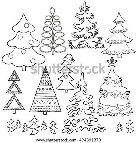 Coloring Book Set Christmas Trees Hand Stock Vector 494391370 ...
