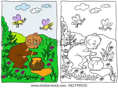 Coloring Book Bear Honey Pot Hand Stock Vector 582749050 - Shutterstock