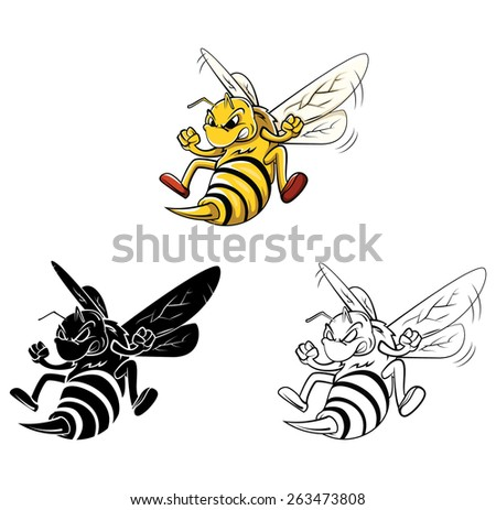 Coloring book Bee cartoon character - stock vector