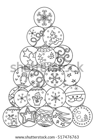 coloring book decorative christmas tree of balls art design hand drawn - Coloring Book Christmas Tree