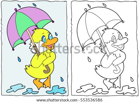 Coloring Book Duck With An Umbrella Hand Drawn Black And White Children