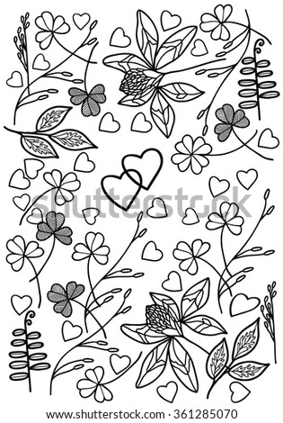 Coloring  book.  Hand drawn. Adults, children. Black and white. Valentines Day.  - stock vector