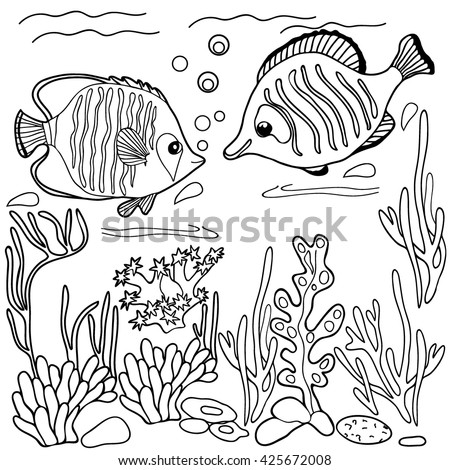 Coloring  book.  Hand drawn. Adults, children. Sea animals. Black and white. Fish.