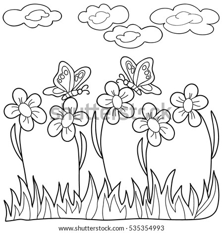 Coloring Book Hand Drawn Black And White Adults Children Flowers