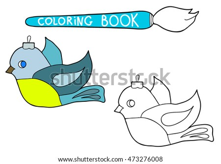 Coloring  book.  Hand drawn. Black and white. Children. Christmas decorations, bird.