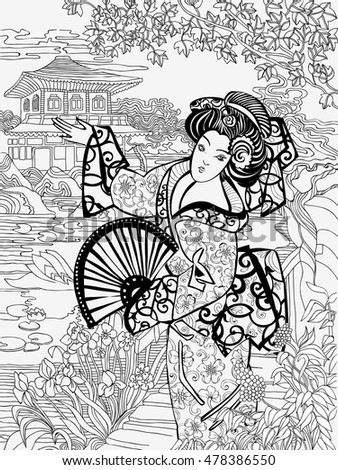 coloring pages japanese woman on a background of conventional oriental landscape - Japanese Coloring Pages