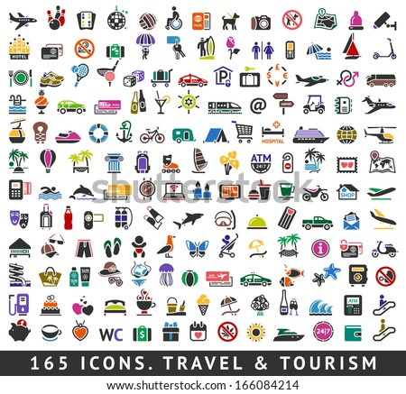 165 colors icons. Travel and Tourism, vector illustrations - stock vector