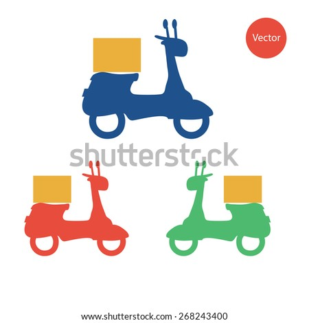 3 colors of delivery scooter. - Colors can be edited very easily - stock vector