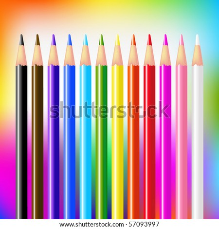 12 Colour Vector Pencils On Bright Background